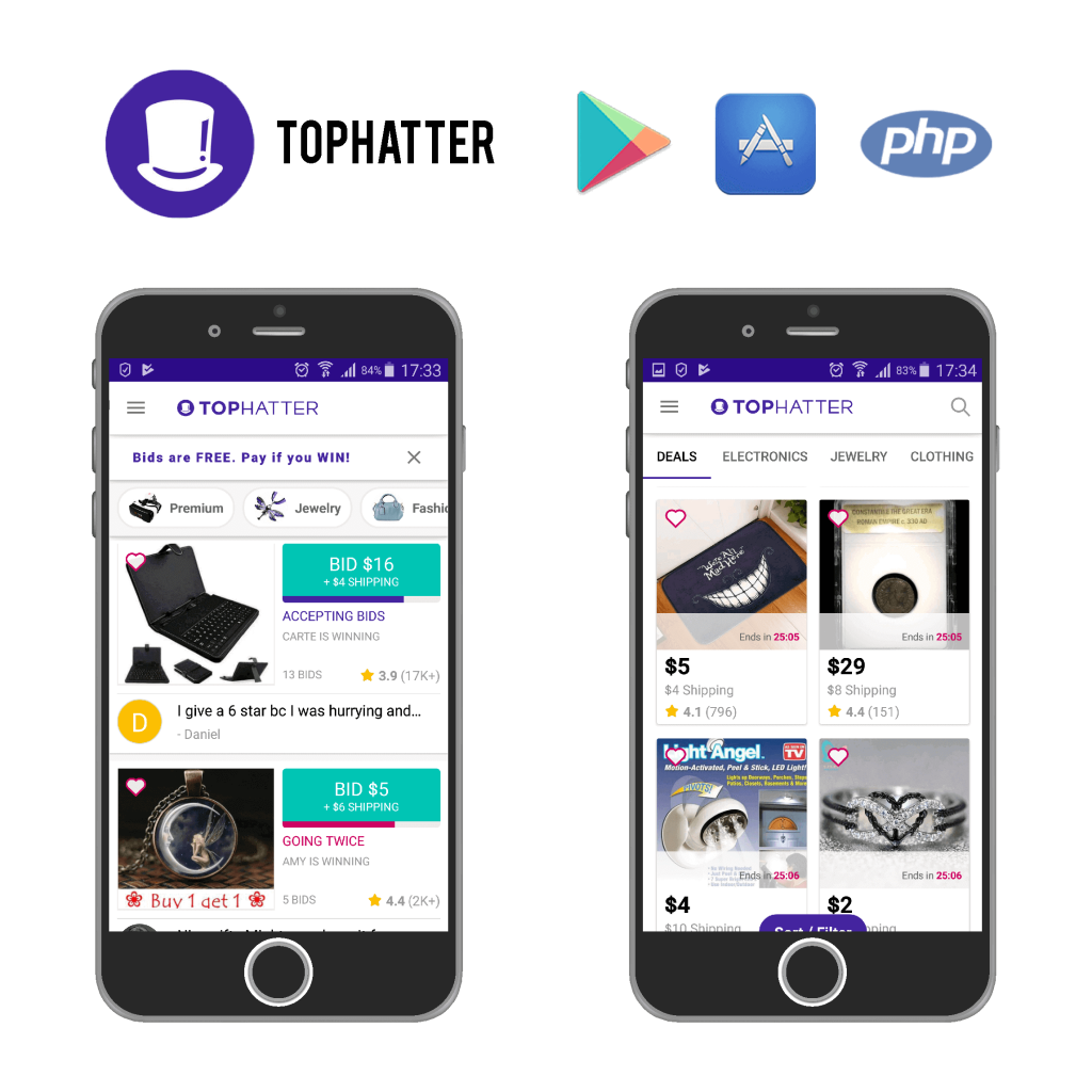 Tophatter, mobile application, web application